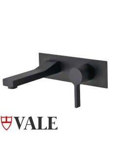 Vale Brighton Wall Mounted Single Lever Mixer and Spout - Matte Black