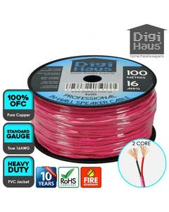 Digihaus 2 core 100 metres 16 awg pink professional in-wall speaker cable