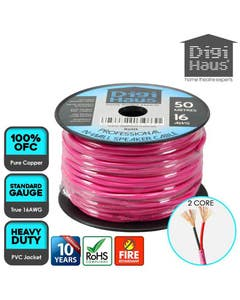 Digihaus 2 core 50 metres 16 awg pink professional in-wall speaker cable