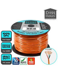 4 core 50 metres 14 awg orange professional in-wall speaker cable