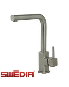 brushed stainless steel kitchen mixer