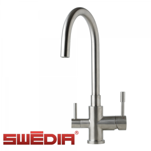 SWEDIA Otto - Stainless steel kitchen sink mixer with filtered water outlet - Brushed