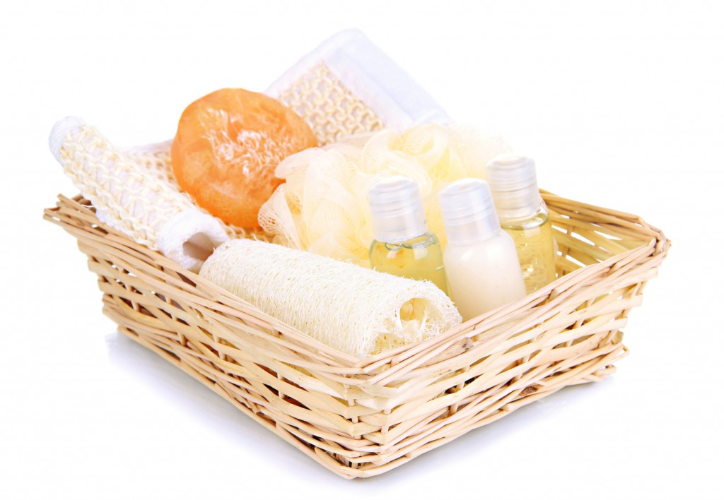 Basket with toiletries