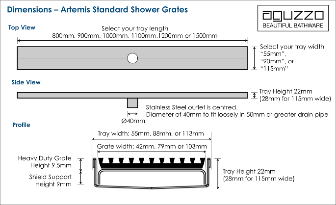 tile insert shower grate dimensions