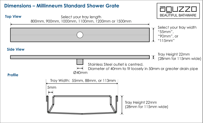 Shower grate dimensions