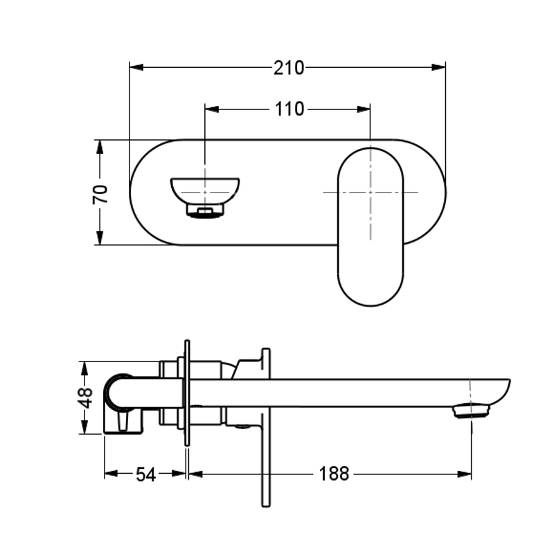 eve wall mounted single lever mixer and spout