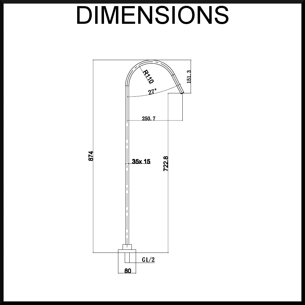 aqua vera bath spout dimensions
