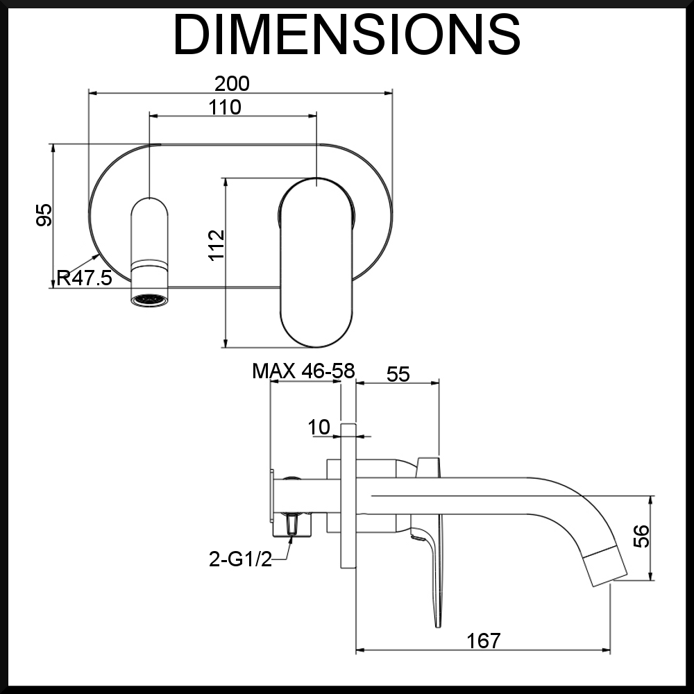 Vale Symphony Wall Mixer and Spout Dimensions