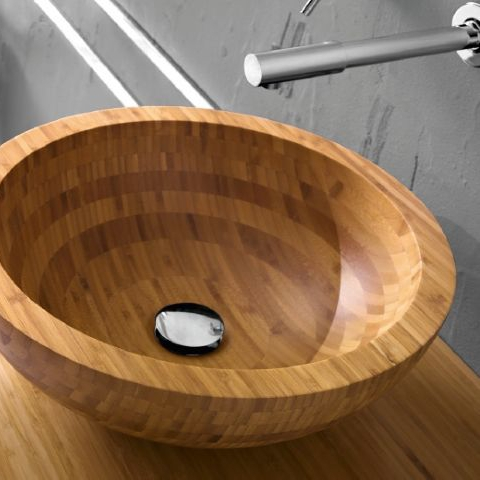 Round bamboo basin