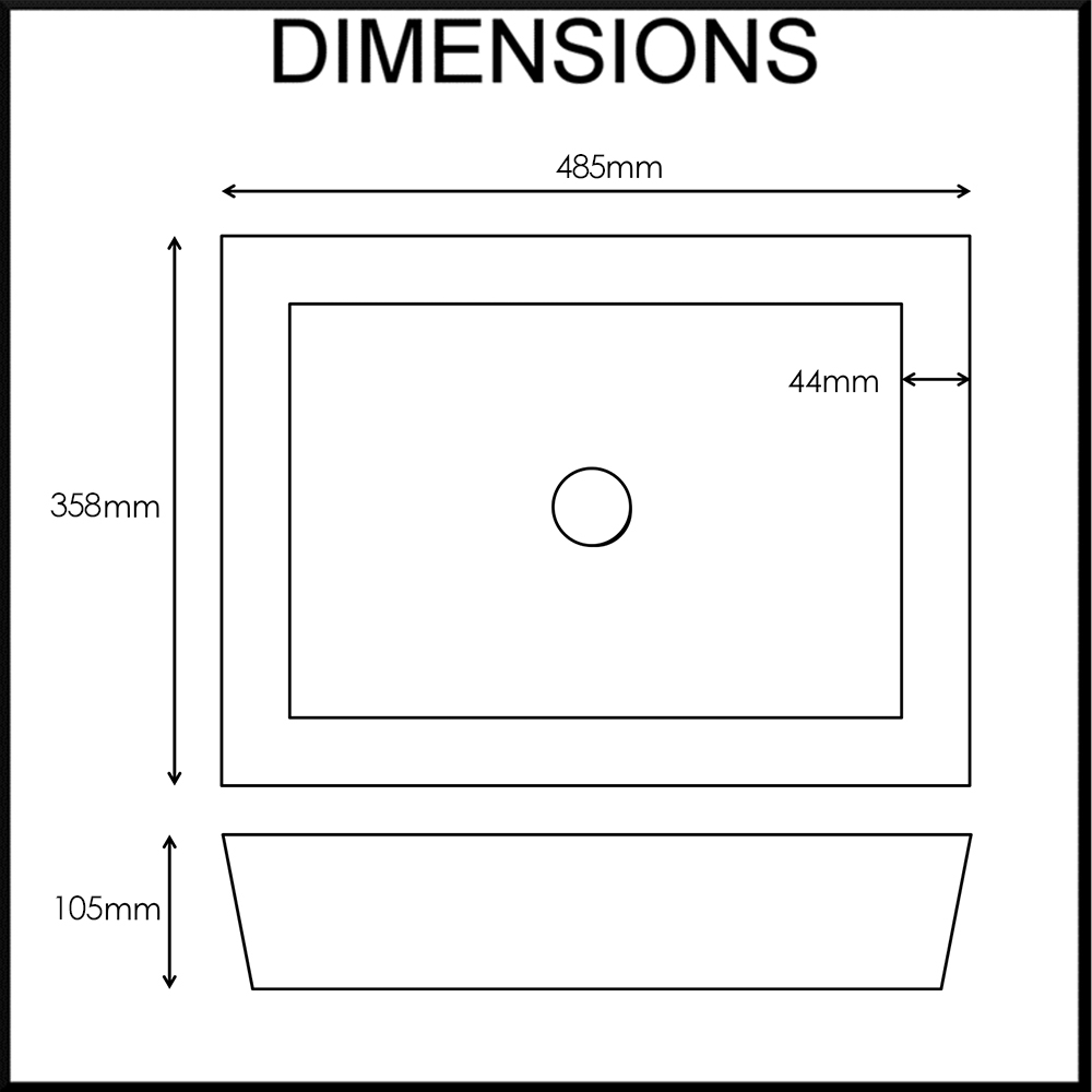 Moku Rectangle Bamboo Basin for Bathroom Dimensions