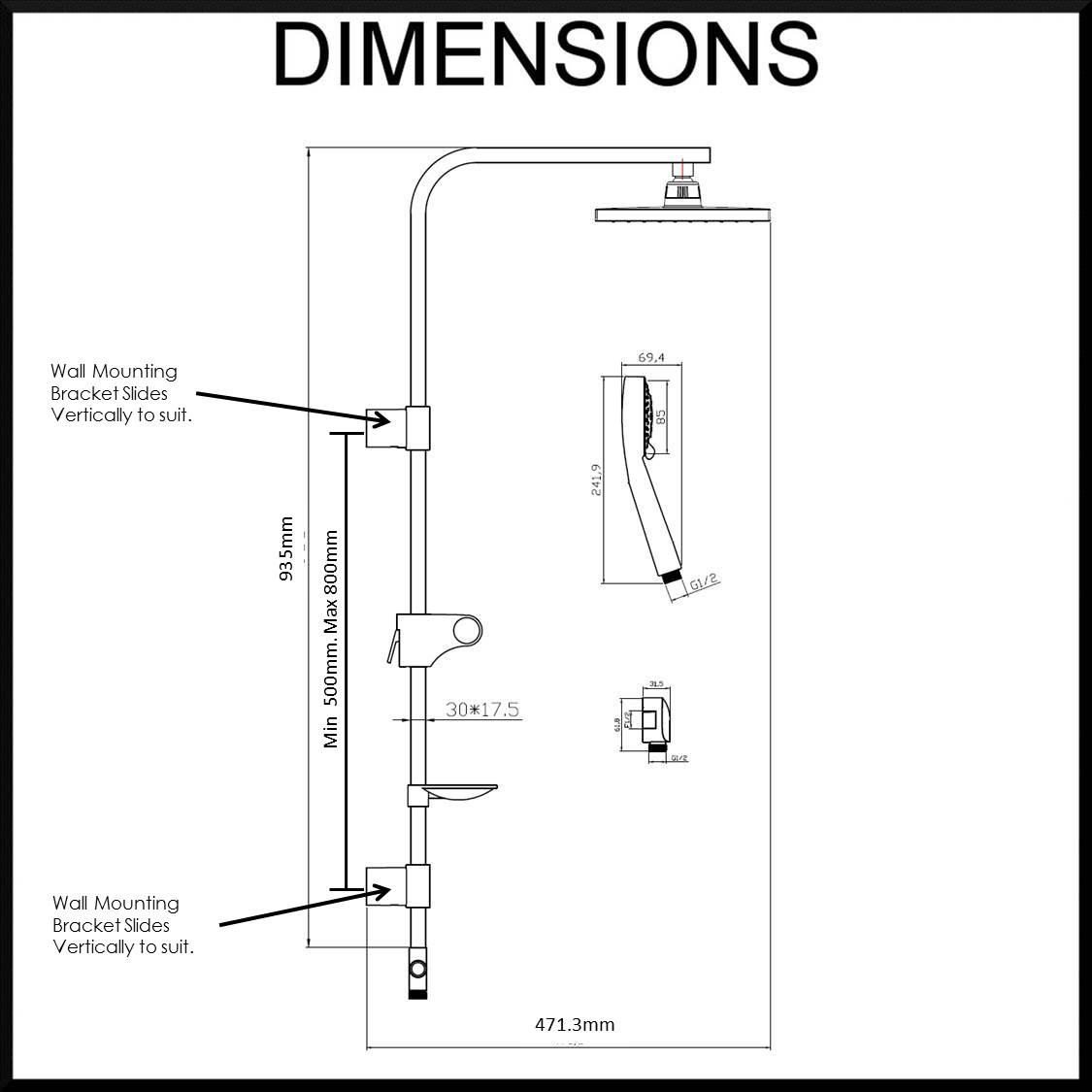 Dimensions. Lotus Hand Shower And Sliding Rail Water Saving Air Turbo ...