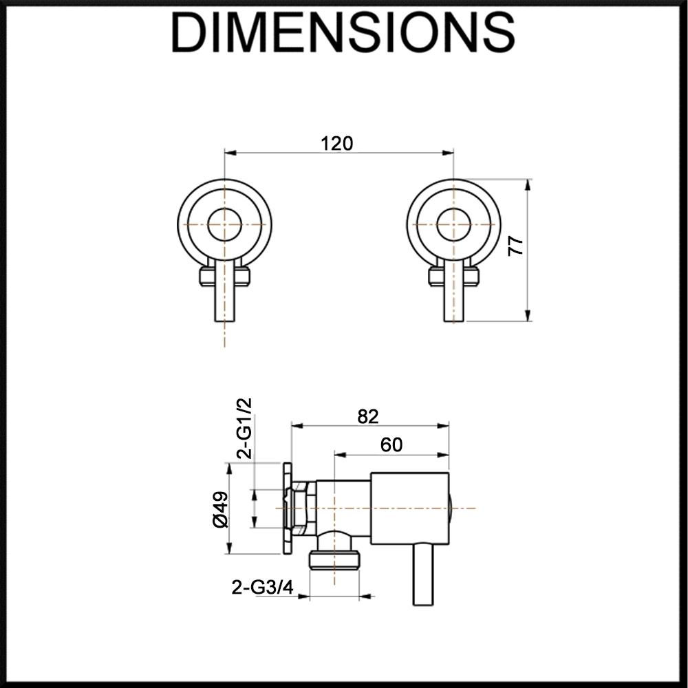 Vale Cambridge Laundry Tap Set Dimension Specification Diagram