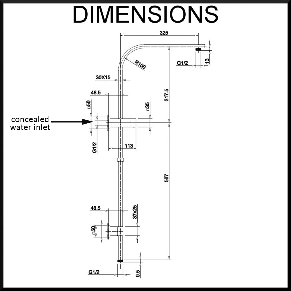 Vale square twin shower rail set dimensions