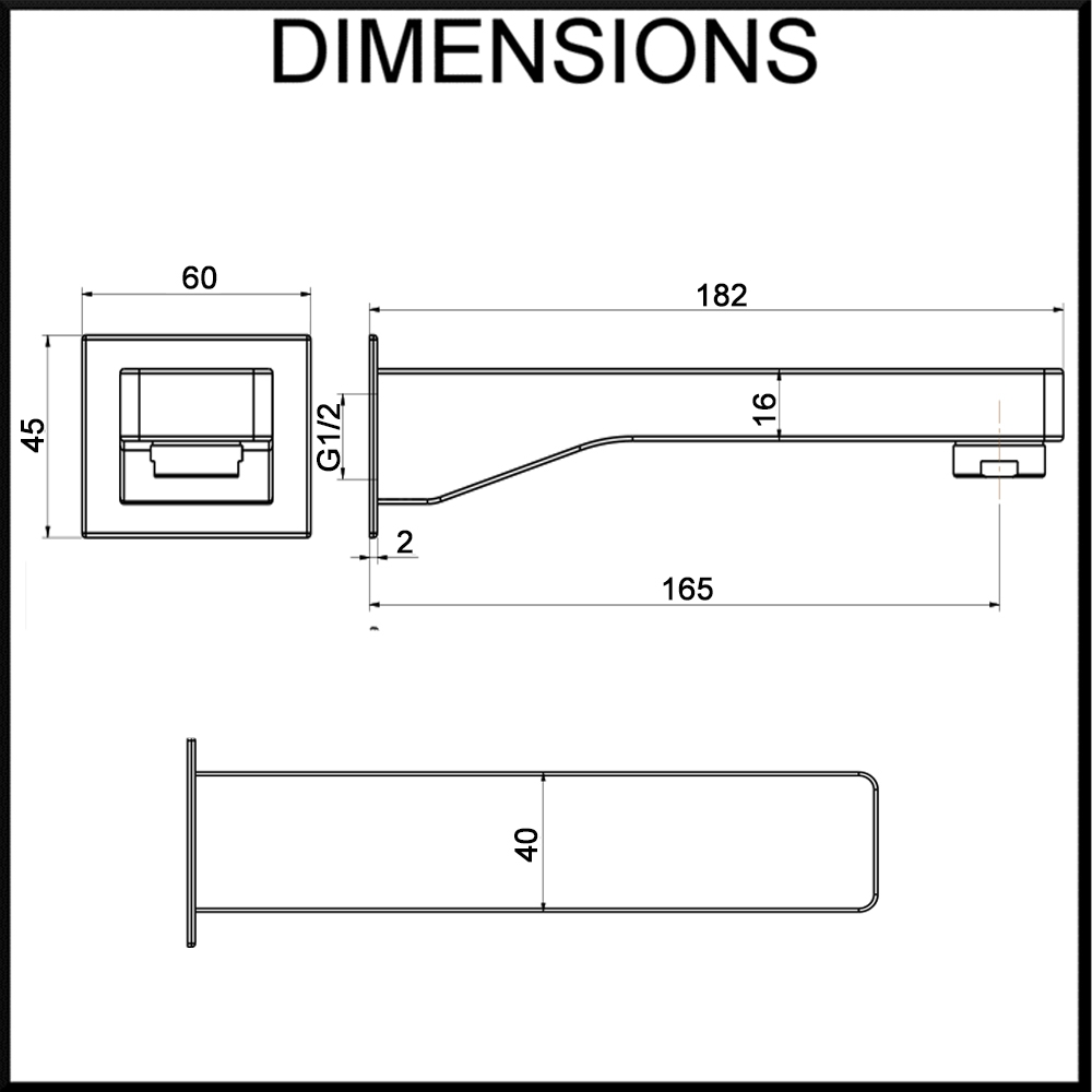 Vale Brighton Square Wall Spout Dimension Specification Diagram