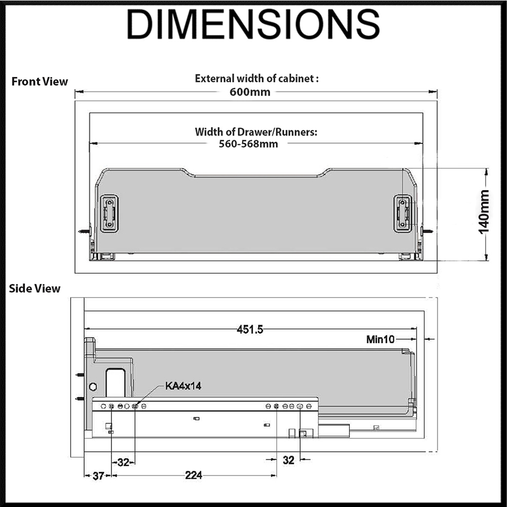 Elite 600mm dimension diagram
