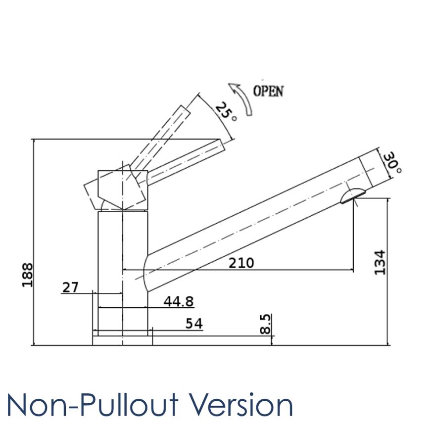 oskar swedia non-pullout kitchen tap dimensions