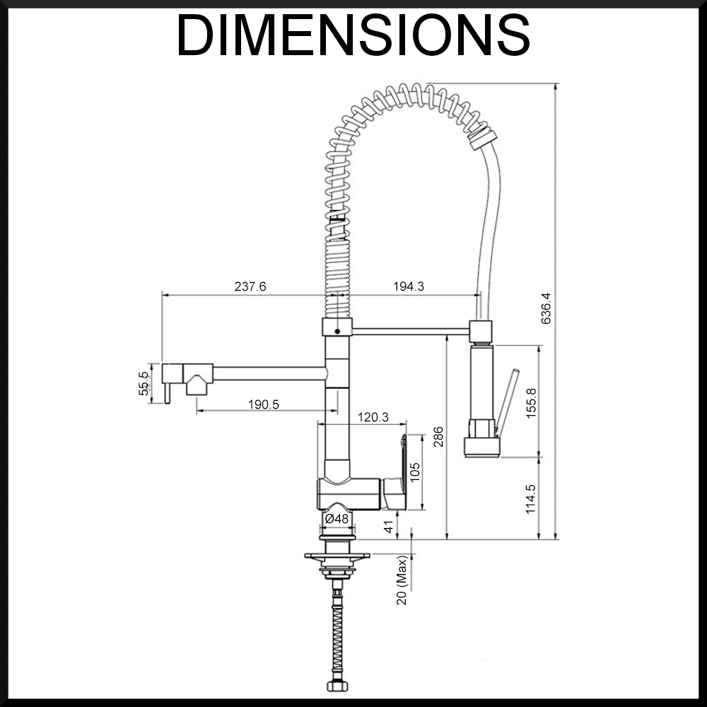 vale-grande-kitchen-mixer-dimension-diagram