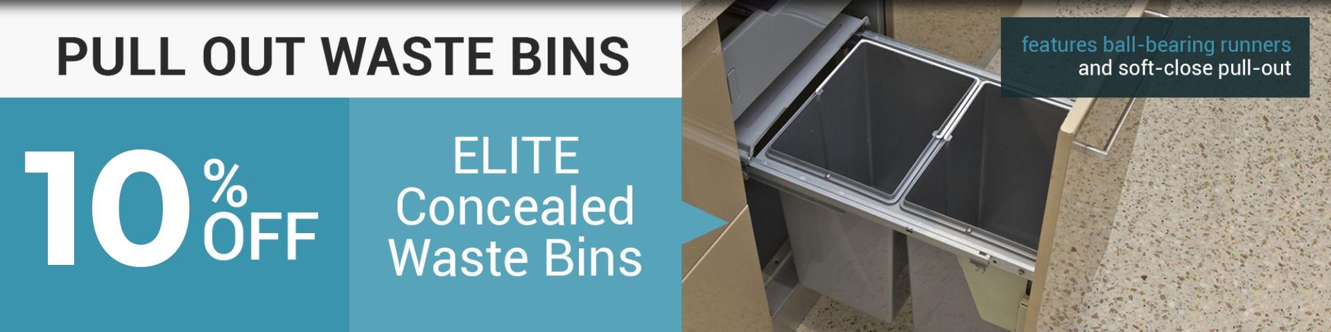 kitchen storage, pull-out bin, waste bins, concealed waste bins