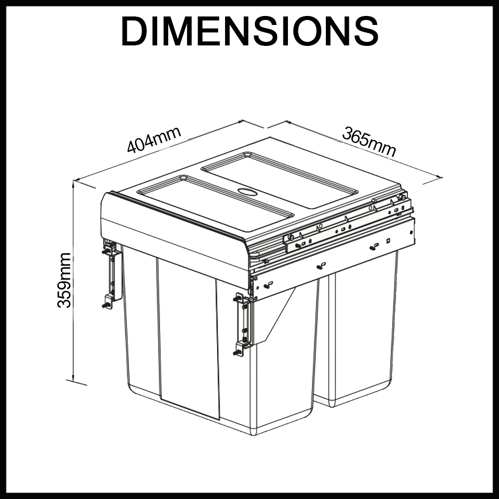 Side Mounted 400mm cabinet - Pull-out Rubbish Bin