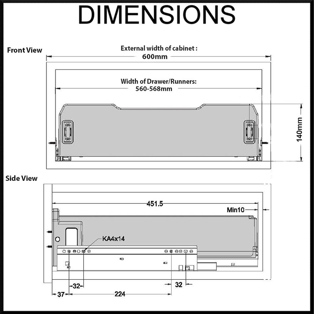 Elite 600mm dimension diagram