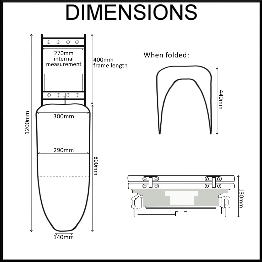 folding ironing board dimensions